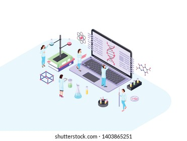 Scientists, geneticist, academics, biologists, research workers isometric color vector illustration. DNA helix on laptop infographic. Biochemistry, genetics. Biological laboratory 3d concept.