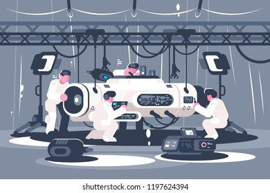 Scientists group preparing equipment for launching. Engineers teamwork concept. Flat. Vector illustration.