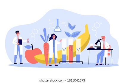 Scientists growing plants in lab, cultivating genetic modified vegetables and fruits, doing research. Vector illustration for biology, artificial food, agriculture concept