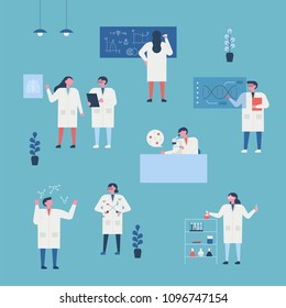 Scientists in the lab character. flat design style vector illustration set