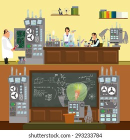 Scientists in lab concept with males and females making research. Robot conducts lecture. Vector illustration in a flat style.