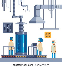Scientists in the lab are experimenting. Scientific equipment for laboratory, large centrifuge with liquid, exhaust and ventilation. Chemistry, biotechnology and research. Pixel art isolated vector.
