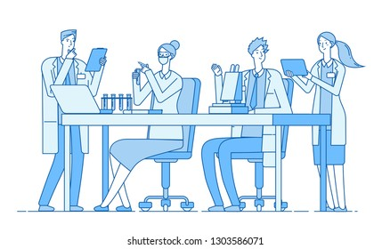 Scientists in lab. Research team chemist doctors analysis microscope in laboratory. Medical education bioengineering vector concept