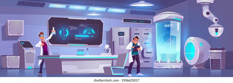 Scientists in laboratory conduct experiment, men scientific research in cryonics or chemical lab with equipment microscope, glass flasks, cryo camera with low temperature Cartoon vector illustration
