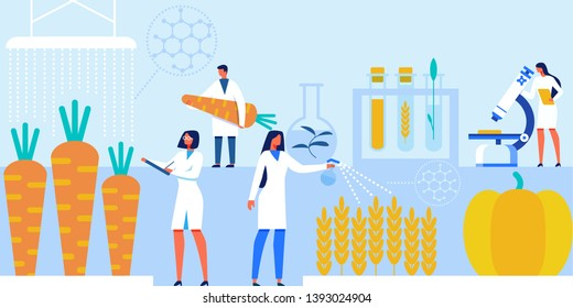 Scientists with Laboratory Equipment and Artificial Food Products Banner Vector Illustration. Genetically Modified Vegetables. Characters Doing Scientific Researches and Experiments.