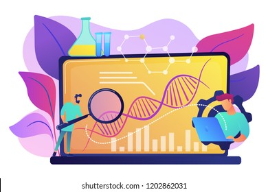 Scientists looking at DNA and charts with magnifier on laptop. Biotechnology, biological systems, bio-engineering concept on white background. Bright vibrant violet vector isolated illustration