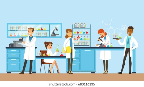 Scientists man and woman conducting research in a lab, interior of science laboratory, vector Illustration