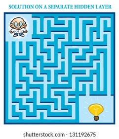 Scientist's Maze Game (help the scientist find the right way to a bright idea) - Maze puzzle with solution