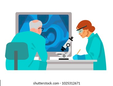 Scientists in medical laboratory doing research. Doctor sitting at computer with ultrasound image of baby in mother's womb. Woman assistant looking through microscope and writing. Cartoon flat vector