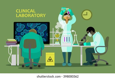 Scientists in medical laboratory doing research.There are chemistry equipment, microscope and computer on the table. Cartoon style vector illustration isolated on green background.