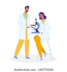Scientists with Microscope Cartoon Illustration. Chemists, Biologists. Colleagues in Uniforms Characters. Diagnostic Laboratory. Teacher and Student in University. Microbiology Professor. Researcher