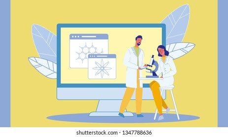 Scientists with Microscope Vector Illustration. Chemists, Biologists. Scientific, Diagnostic Laboratory. Biotechnology. Teacher and Student in University. Molecules, Atoms Models. Lab Test, Research