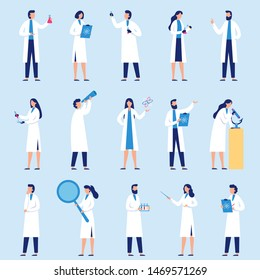 Scientists people. Science lab worker, chemical researchers and scientist professor character. laboratory creative scientist job, medicine workers characters. Isolated flat vector icons set