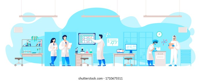 Scientists and researchers working in laboratory on making new coronavirus medicine. People in lab making expertise or viruses or infection. Characters using microscope for detailed cell image vector
