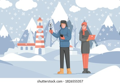 Scientists study winter weather using special equipment and laptop vector flat illustration. Winter landscape with man and woman in warm clothes. Researchers measure the temperature in winter.