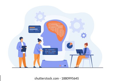 Scientists studying neural connections. Programmers writing codes for machine brain. Vector illustration for artificial intelligence, machine learning, data science concepts