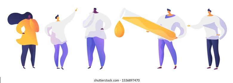 Scientists team flat vector illustrations set. Smart people in white coats, doctors cartoon characters. Man holding huge flask with fluid. African american woman in casual clothes. Chemical experiment