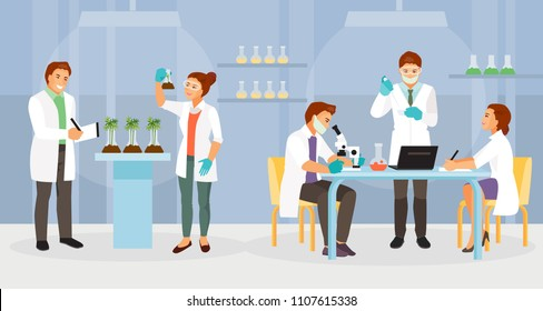 Scientists working in the biochemical laboratory. Vector illustration