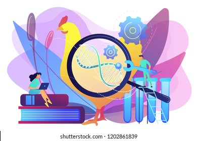 Scientists working with huge DNA of a chicken. Genetically modified animals, genetically modified animal experiments concept on white background. Bright vibrant violet vector isolated illustration