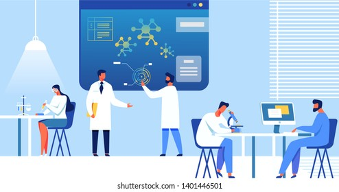 Scientists Working in Laboratory on Nano Technologies Banner. People Developing Micro Chip, Robots, Medical Innovation Vector Illustration. Man Doing Research with Micrpscope. Person with Computer.