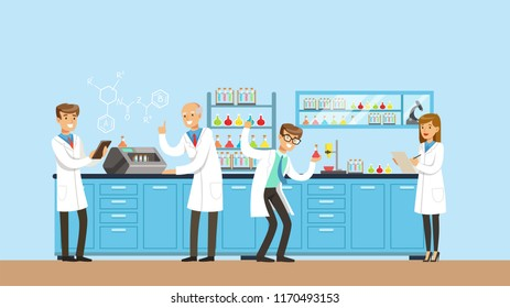 Scientists working research in chemical lab, interior of science laboratory, vector Illustration