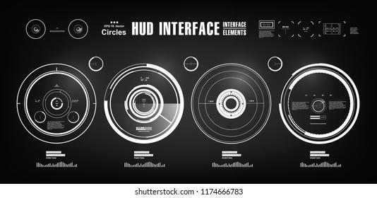 Sci-fi Black and white futuristic hud dashboard display virtual reality technology screen