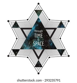 Sci-fi, cosmic illustration. Geometrical star made of triangles and lines. Watercolor vector night sky triangle background. Through time and space typographical composition. Print design.