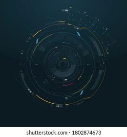 Sci-fi Futuristic Circular Cyberpunk style Vector FUI Element