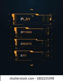 Sci-fi Futuristic FUI UI HUD Cyberpunk Game Menu Template