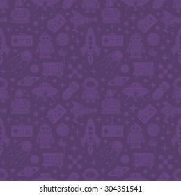 Sci-fi retro pattern. Monochrome objects on the dark-violet background