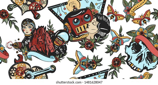 Sci-fi seamless pattern. Space adventure art. Retro futuristic old school tattoo background. Lovers. Kissing robot, girl astronaut and mechanical heart
