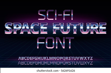 Sci-Fi space future font in 80's retro movie style. Metal chrome effect alphabet letters and numbers. Vector typeface set