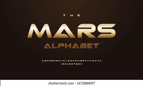 Sci-Fi Technology Gold Font, Luxury classic minimal typeface typo typography digital modern sport classic Alphabet Font. Vector illustration