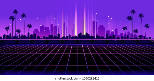 Sci-fi vector background, Night City Skyline in the style of retro waves, synth, 80s design. Futuristic vector illustration geometric style, Tropical night