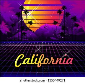 Sci-fi vector background, sunrise in the style of retro-grazing waves, synth, 80s design