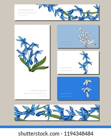 Scilla set with visit cards and greeting templates