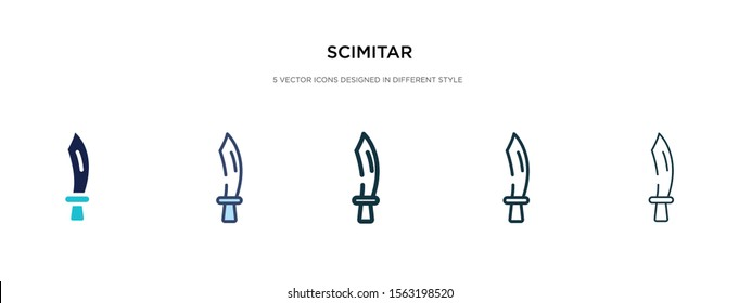 scimitar icon in different style vector illustration. two colored and black scimitar vector icons designed in filled, outline, line and stroke style can be used for web, mobile, ui