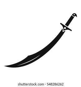 Scimitar sword icon. Simple illustration of scimitar sword vector icon for web