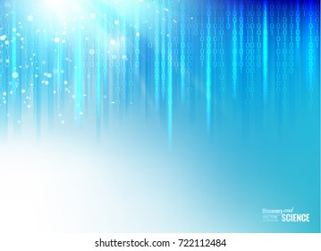 Scince illustration of bigdata. Abstract binary code on deep blue background of Matrix style. Bigdata visualization. Vector illustration.
