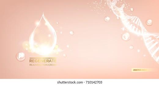 Scince illustration of a DNA molecule. Organic cosmetic and skin care cream label. Regenerate face cream and Vitamin complex concept. Vector illustration.