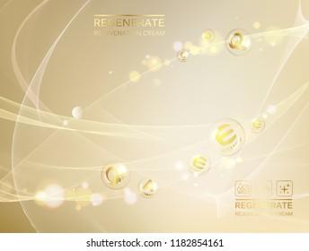 Scince illustration of a DNA molecule. Regenerate face cream and Vitamin complex concept. Organic cosmetic and skin care cream. Beauty skin care design over golden backdrop. Vector illustration.