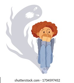 Sciophobia fear of shadows vector illustration, boy is scared by her own shadow with imaginary scary face scared in panic attack, psychology mental health concept.