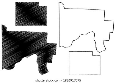 Scioto and Paulding County, Ohio State (U.S. county, United States of America) map vector illustration, scribble sketch map