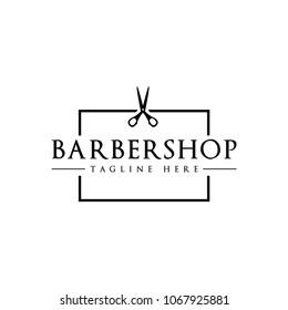Scissor Barbershop Emblem Vector Logo Template