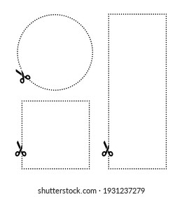 Scissor cut line icon. Black scissor border paper background cutout line coupon