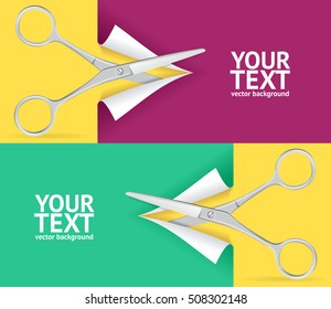 Scissor Cut Paper Banner Horizontal Set with Place for Your Text. Vector illustration of green and pink background for web site, coupon, voucher, placard.