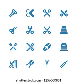 scissor icon set. Collection of 16 filled scissor icons included Shears, Scissors, Grooming, Thimble, Scissor, Cut