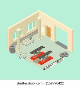 Scissor jack car garage concept background. Isometric illustration of scissor jack car garage vector concept background for web design