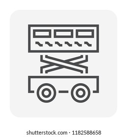 Scissor lift icon design for lifting work, 64x64 perfect pixel and editable stroke.
