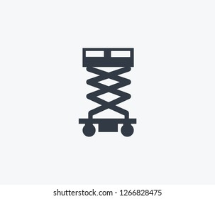 Scissor lift icon isolated on clean background. Scissor lift icon concept drawing icon in modern style. Vector illustration for your web mobile logo app UI design.